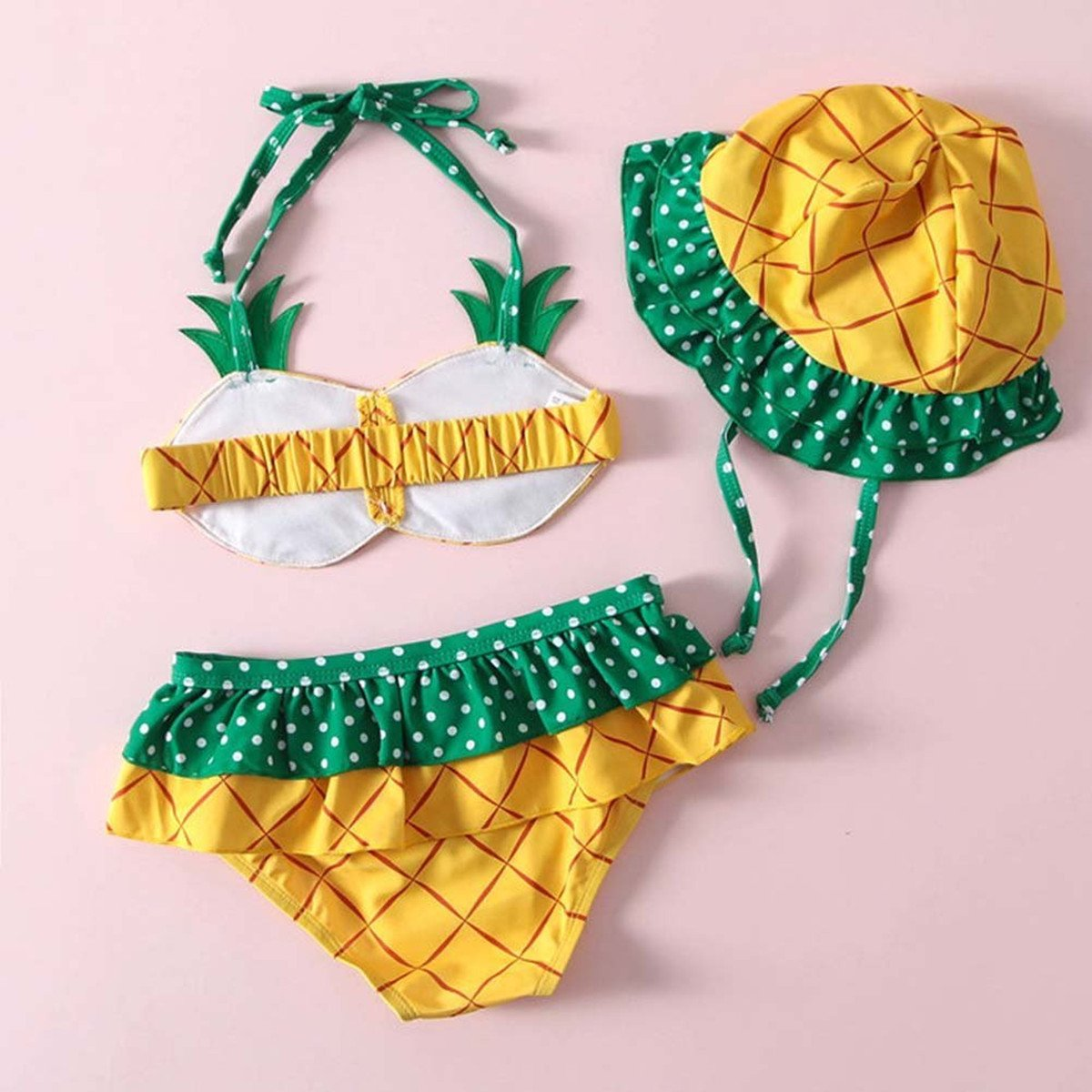 a8c6996c06 Amazon.com: FAYALEQ Kids Baby Girls Cute Pineapple Halter Two-Pieces Bikini  Set Swimsuit With Hat: Clothing