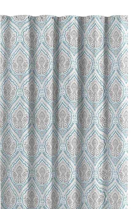 Amazon Bright Aqua Grey White Fabric Shower Curtain Decorative