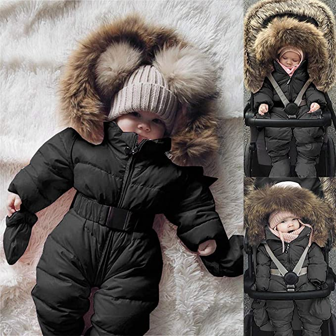 3fb409b183dc Amazon.com  Franterd Baby Girls Boys Romper Down Jacket Hooded Jumpsuit  Autumn   Winter Warm Thick Coat Onesie Snowsuit Clothes  Sports   Outdoors