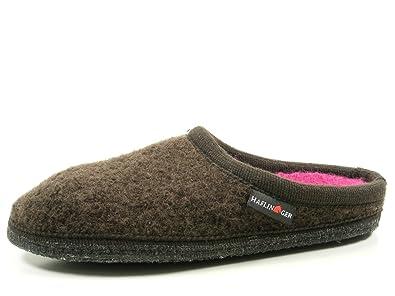 Haflinger 611086-0-62 Walktoffel Uni Damen Herren Hausschuhe Pantoffeln Wolle, Schuhgröße:36, Farbe:Braun