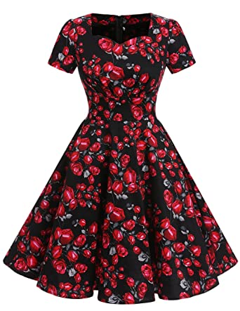 Dresstells Vintage 1950s Solid Color Prom Dresses Short Sleeved Retro Audery Swing Dress - Black -