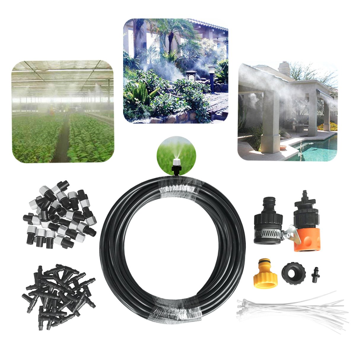 "DIY Misting System 50ft Misters Cooling Outdoor System Irrigation Sprinkle with 20pcs Misting Nozzles+3/4"" and 1/2'' Faucet Connector Each+1pc Universal Adapter for Patio Garden Greenhouse"
