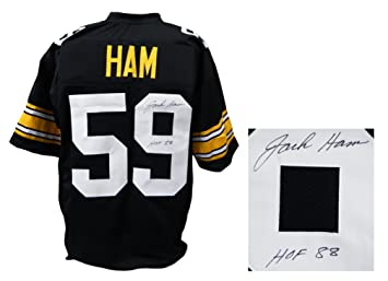 new arrivals 8a825 698d6 Jack Ham Signed Black Custom Football Jersey w/HOF'88 ...