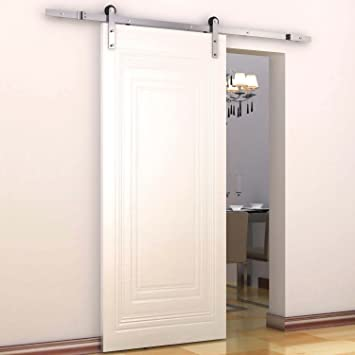 sliding barn doors. homcom modern 6u0027 interior sliding barn door kit hardware set flat stainless steel doors