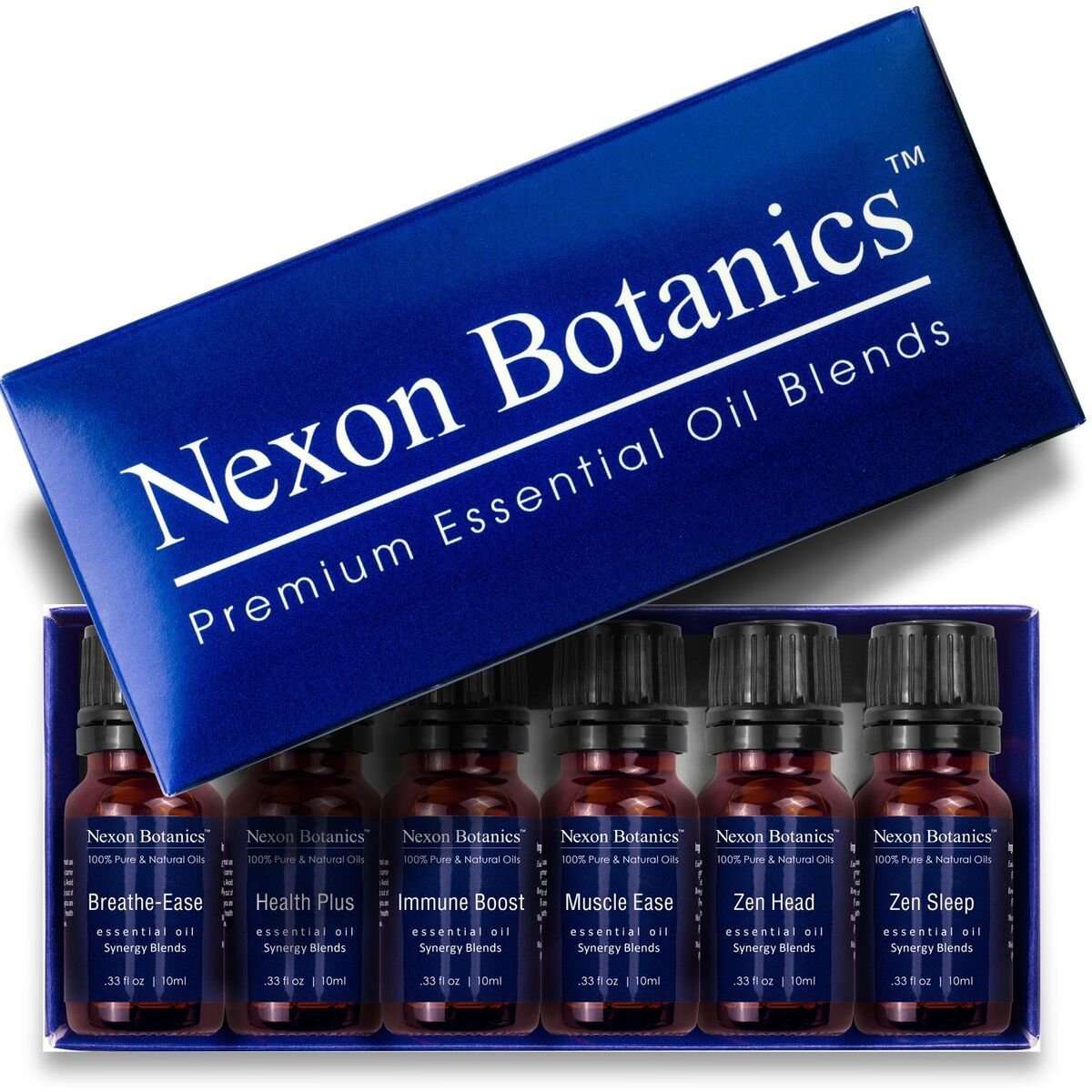 Aromatherapy Essential Oil Synergy Blend Set - 100% Pure & Natural Undiluted Therapeutic Grade Blends Include Breathe Ease, Health Plus, Zen Head, Muscle Ease, Zen Sleep, Immune Boost Oils 6 x 10 ml by Nexon Botanics (Image #8)