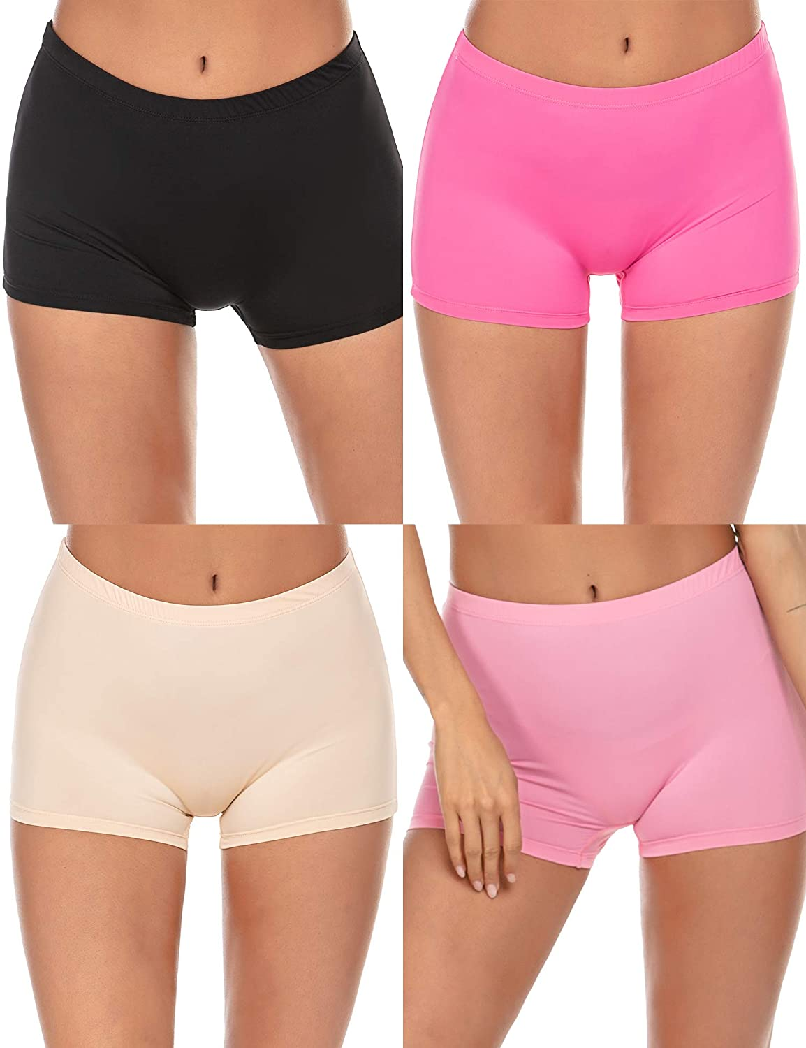 Ekouaer Boyshort Panties Womens Soft Underwear Briefs Invisible Hipster 3 Pack Or 4 Pack Seamless Boxer Brief Panties S-XXL