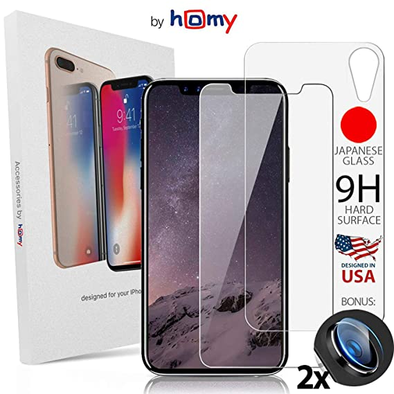 Homy Compatible Screen Protector iPhone Xr (6 1 inch) - Full Glass  Protection: 2X Front Tempered Glass + Back Glass + 2X Camera Cover -  Premium 9H UHD