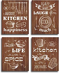 "HPNIUB Kitchen Art Print, Set of 4 (8""X10""), Kitchen Theme Canvas Poster, Funny Saying- Eat Well, Laugh Often, Live Life, Creative Cooker-Pan, Knife, Fork Wall Decoration for Kitchen Restaurant, No Frame."
