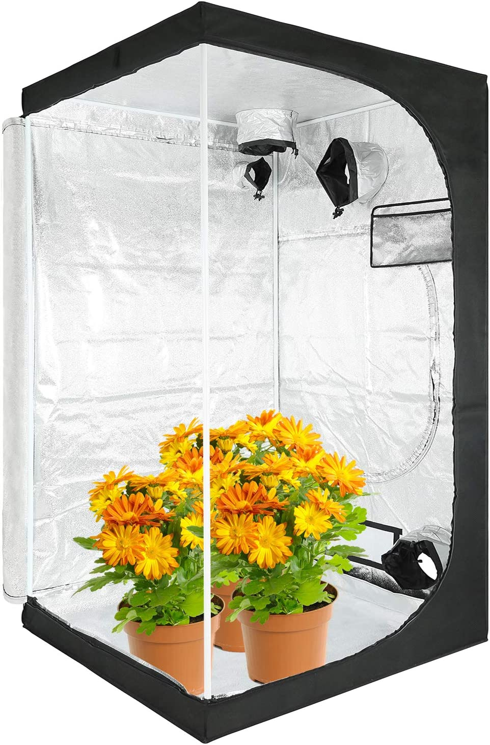 "VERTOR VT 48""x48""x80"" Horticulture Reflective Mylar Hydroponic Grow Tent with Observation Window and Floor Tray for Indoor Plant Growing 4x4 (for 4 Plants)"