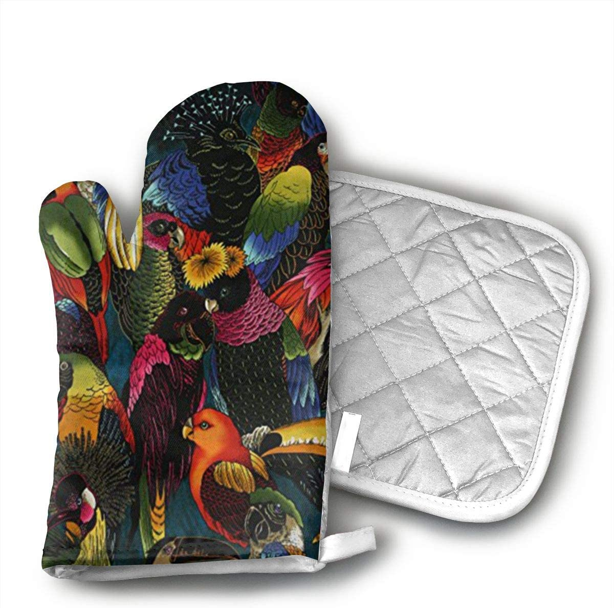 Wiqo9 Blue-Black Parrot Oven Mitts and Pot Holders Kitchen Mitten Cooking Gloves,Cooking, Baking, BBQ.