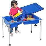 "Children's Factory 24"" Lg. Neptune Double-Basin Table & Lid Set, Preschool/Homeschool/Playroom Sensory Table for…"