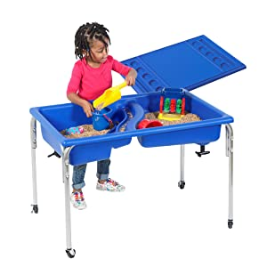 "Children's Factory 24"" Lg. Neptune Double-Basin Table & Lid Set, Preschool/Homeschool/Playroom Sensory Table for Toddlers, Kids Sand and Water Table"