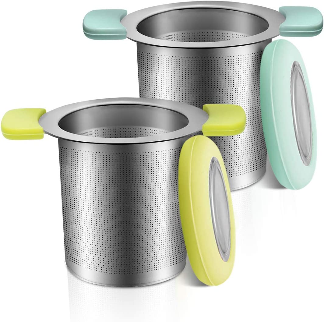 COSYLAND Tea Infuser with Anti-Scald Lid 18/8 Stainless Steel Tea Strainer Large Capacity Tea Filters Food-Safe Loose Tea Infuser Brewing Basket Mesh Strainer Pack of 2