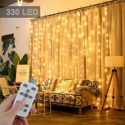 Etercycle 330 LED Curtain Lights with Remote(Timer&Dimmer), 10 FT Icicle Fairy Twinkle String Lights for Bedroom Wall Christmas Dorm Wedding Party Garden Outdoor Indoor Decoration, 8Modes, Warm White : Garden & Outdoor