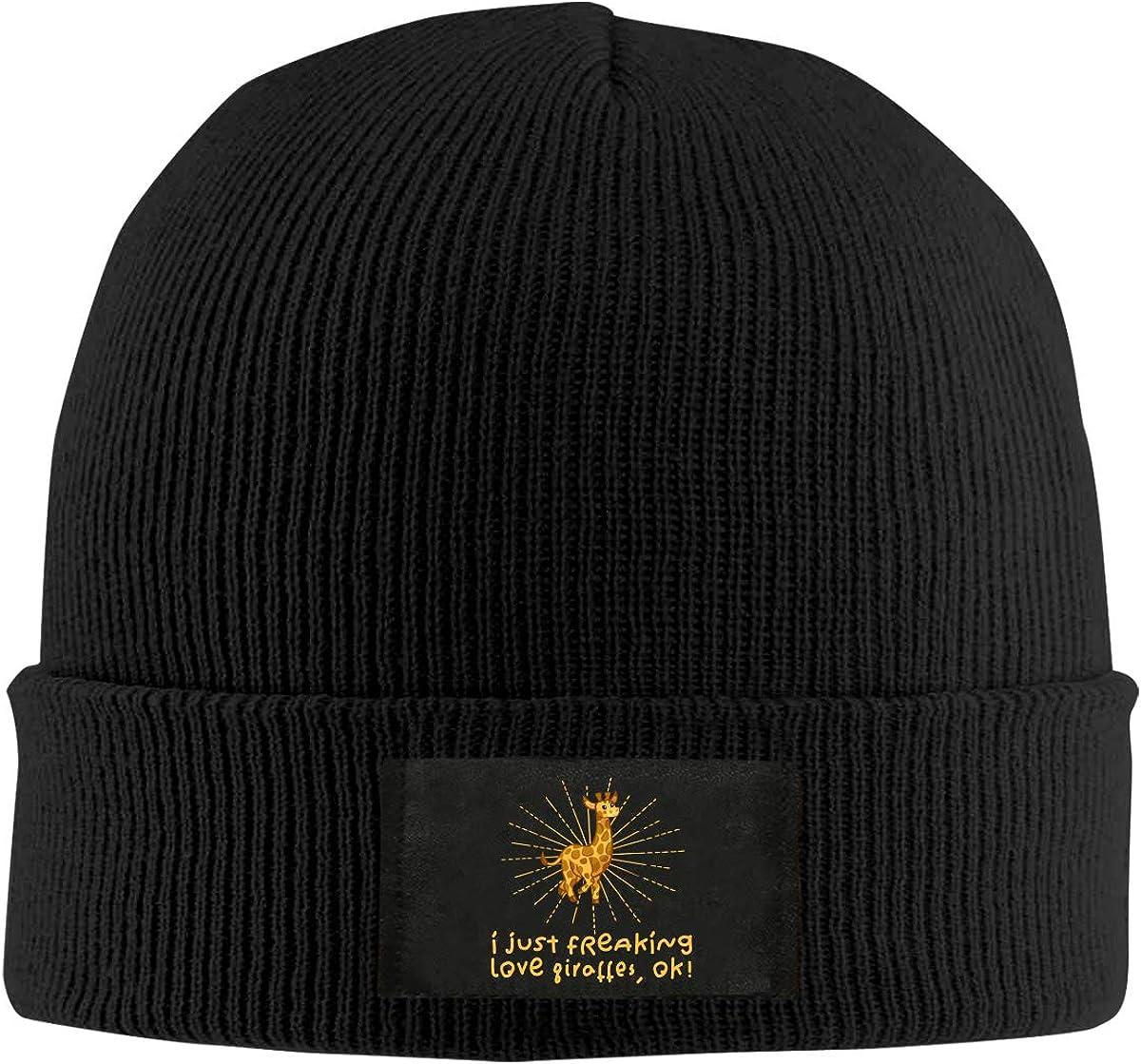 Ok Men Women Knitted Hat Winter Warm Fleece Beanie Hat I Just Freaking Love Giraffes