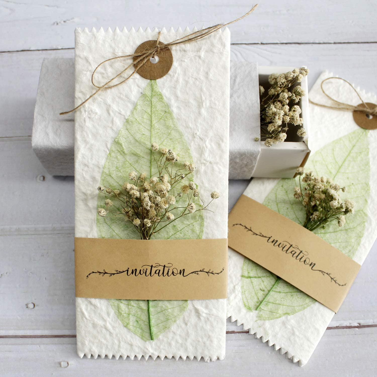 Picky Bride 10Pcs Handmade Real Dry Flower Vintage Wedding Invitations with  Real Leaf Vein, Unique Wedding Gifts Rustic Invite Cards for Your Stylish