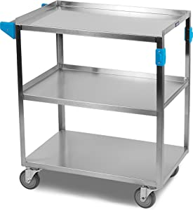 "Carlisle UC3031827 Stainless Steel 18-8 Utility Cart, 300-lb. Capacity, 34"" x 18"" x 27"", 3 Shelf"