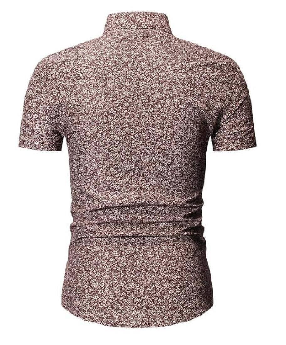 Joe Wenko Mens Comfortable Curved Hem Lapel Neck Short Sleeve Floral Printed Button Down Shirts