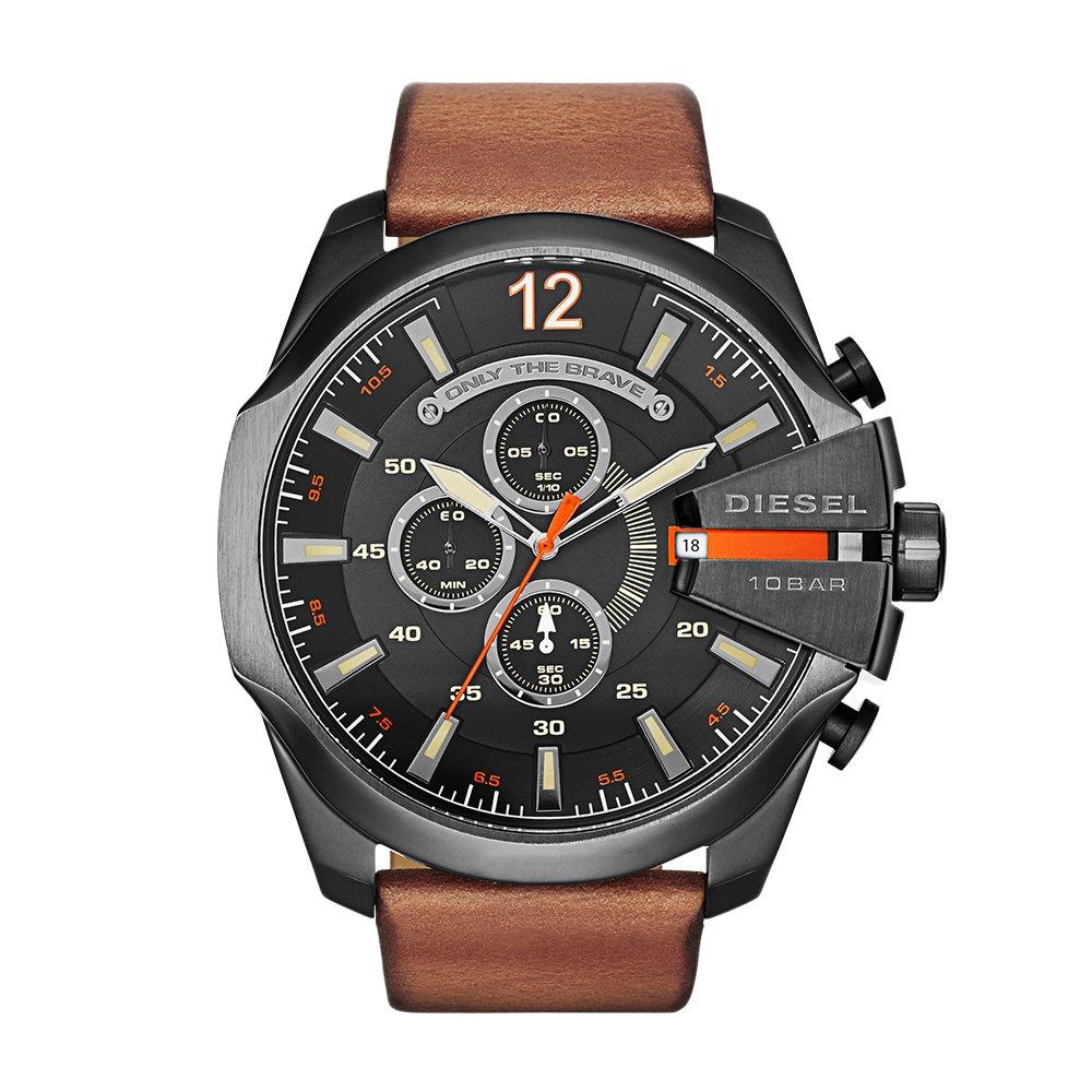 Diesel Men's DZ4343 Mega Chief Gunmetal Brown Leather Watch