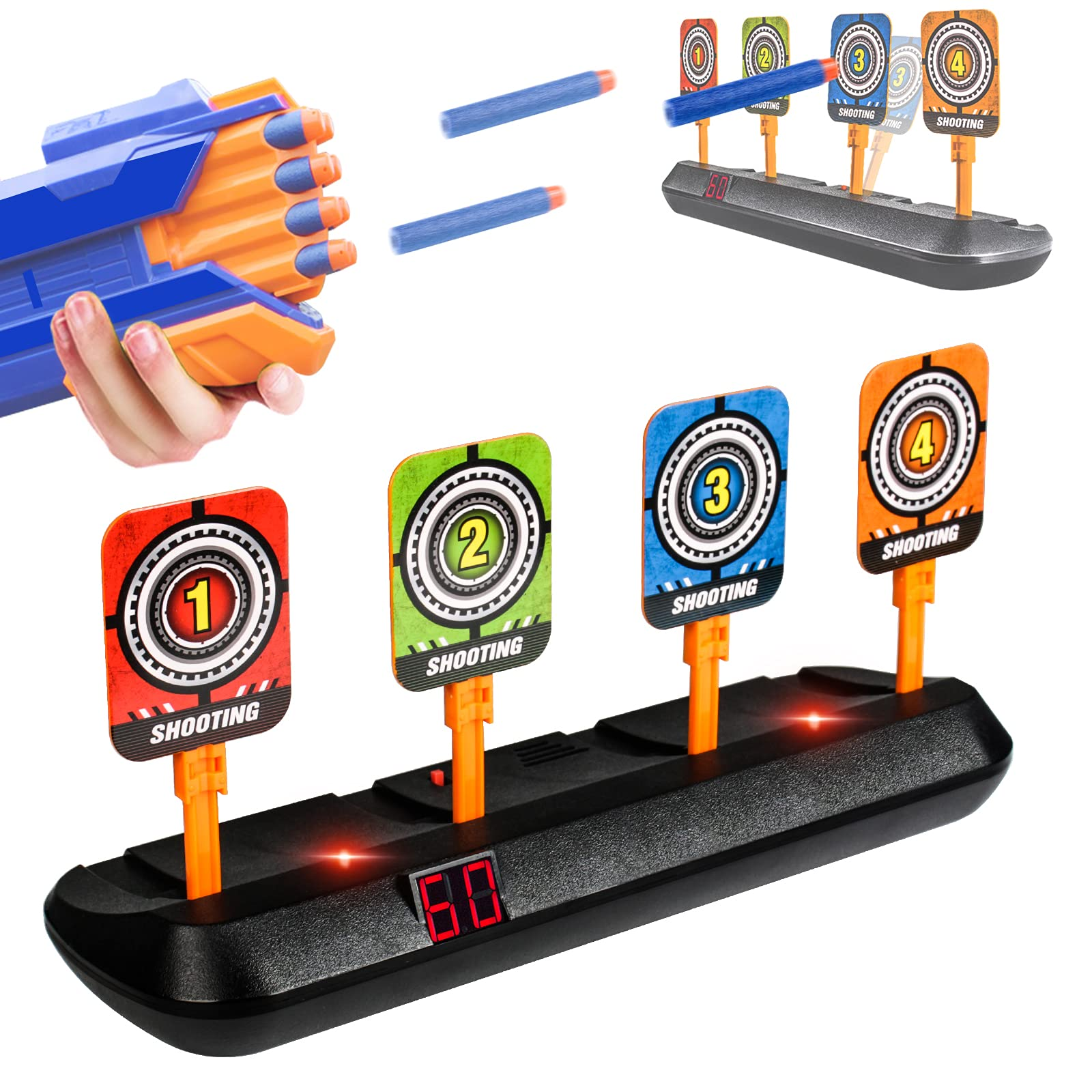 AMOSTING Electronic Shooting Target for Nerf Guns 4 Scoring Auto Reset Digital