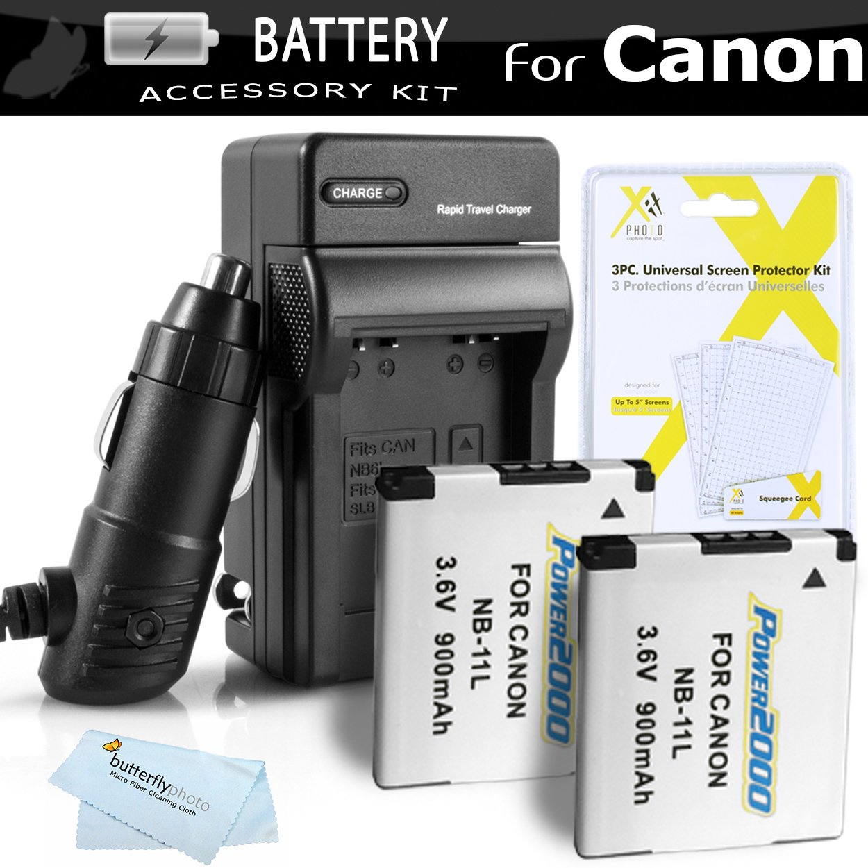 2 Pack Battery And Charger Kit For Canon Powershot ELPH 180, ELPH 190 IS, Elph 150 IS, 170 IS, ELPH 160, SX400 IS, SX410 IS, SX420 IS, 340 HS, ELPH 350 HS, ELPH 360 HS Includes 2 Replacement NB-11L Batteries + Charger ++