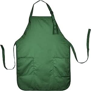 Apron Commercial Restaurant Home Bib Spun Poly Cotton Kitchen Aprons (2 Pockets) in Dark Green
