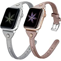 Minyee 2-Pack Leather Bands Compatible with Apple Watch 38mm 40mm 42mm 44mm Womens Thin Wristband, Slim Bronze Retro…