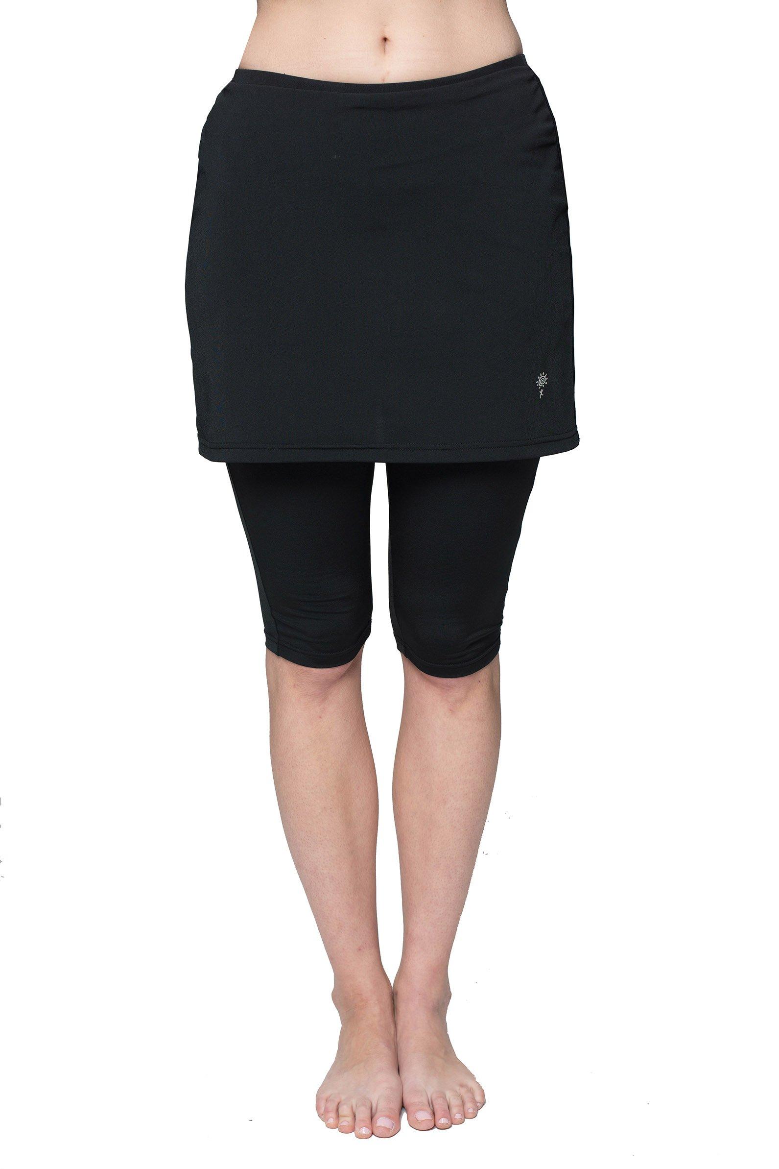 HydroChic Women's Plus Size Skirted Swim Capri Pants, Modest Swimsuit Capri Skirt (Black, 0X)