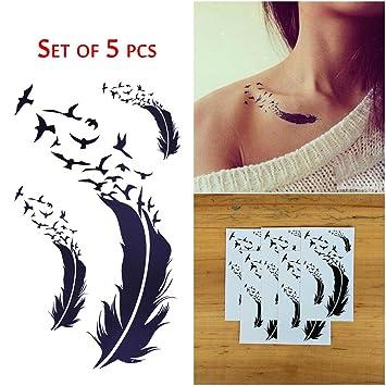 COKOHAPPY 5 hoja Pluma Feather Pájaro Minúsculo Temporales Tatuaje ...