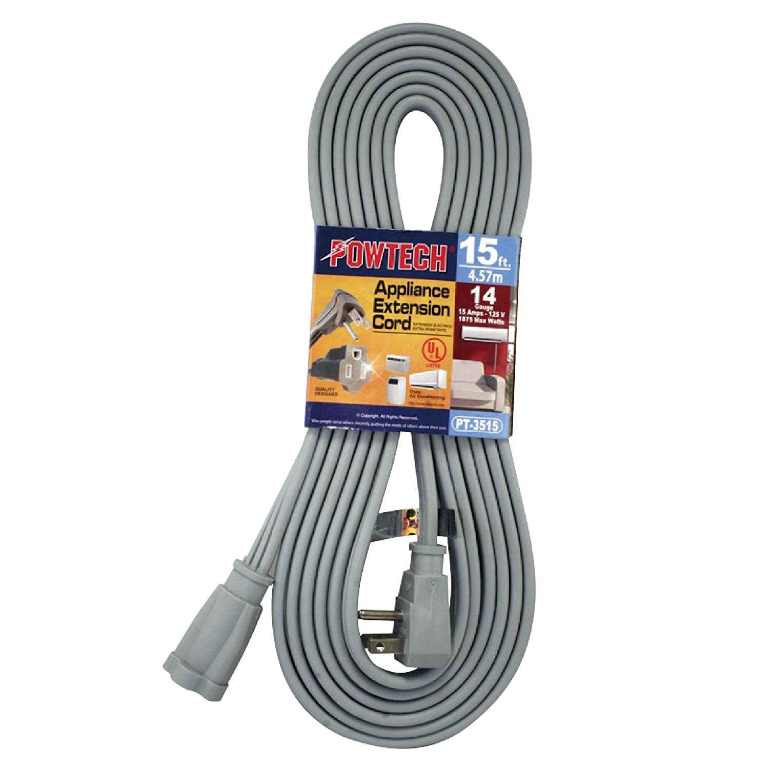 POWTECH Heavy duty 15 FT Air Conditioner and Major Appliance Extension Cord UL Listed 14 Gauge, 125V, 15 Amps, 1875 Watts GROUNDED 3-PRONGED CORD