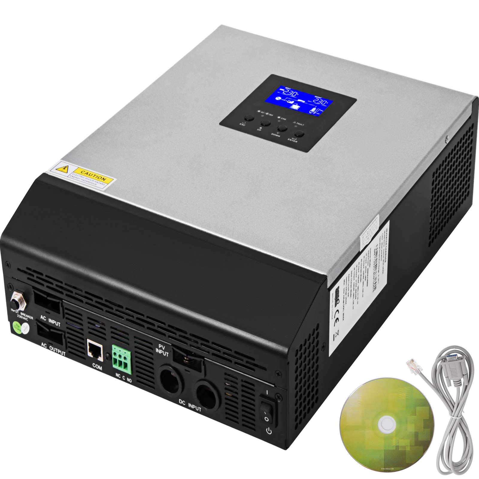 Mophorn Inverter 2400W Solar Pure Sine Wave Power 50A Solar Charger DC 24V AC Output 230V with Utility Charger 50HZ