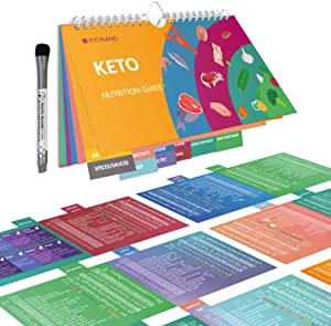 KetoCheatSheetMagnets15 Page, Keto Diet for Beginners, Quick Guide Keto Products for228 Keto Food and Snacks, Accessory for KETO Cookbook, Incl.Blank Chart, Keto Recipe for 488 Food