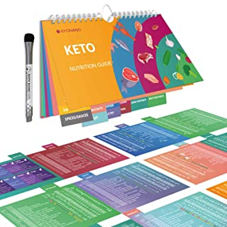 Keto Cheat Sheet Magnets 15 Page, Keto Diet for Beginners, Quick Guide Keto Products for 228 Keto Food and Snacks, Accessory for KETO Cookbook, Incl. Blank Chart, Keto Recipe for 488 Food