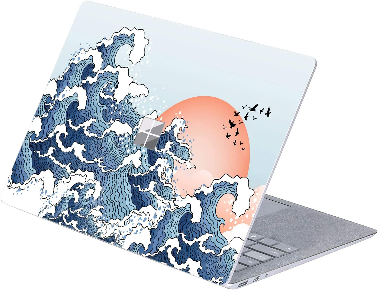 "MasiBloom Top Side Laptop Sticker Decal for 13"" 13.5 inch Microsoft Surface Laptop 3 & 2 & 1 (2019/18/17 Released), Not Compatible with Surface Book (Wave and Setting Sun)"