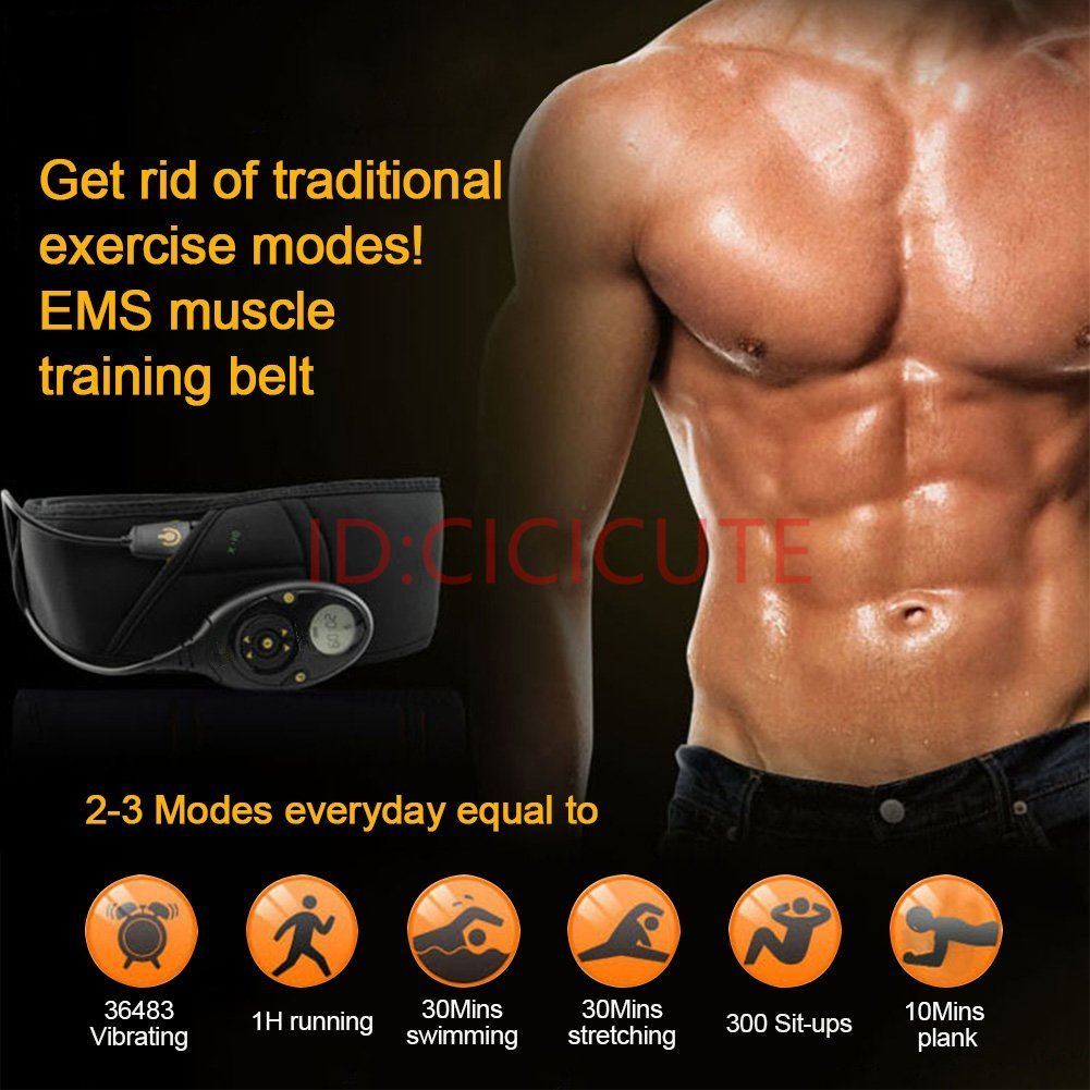 cicicute Pro EMS Abdominal Muscle Training Gear Toner Belt ABS Workout Toning Belts Home Exercise Fitness Set