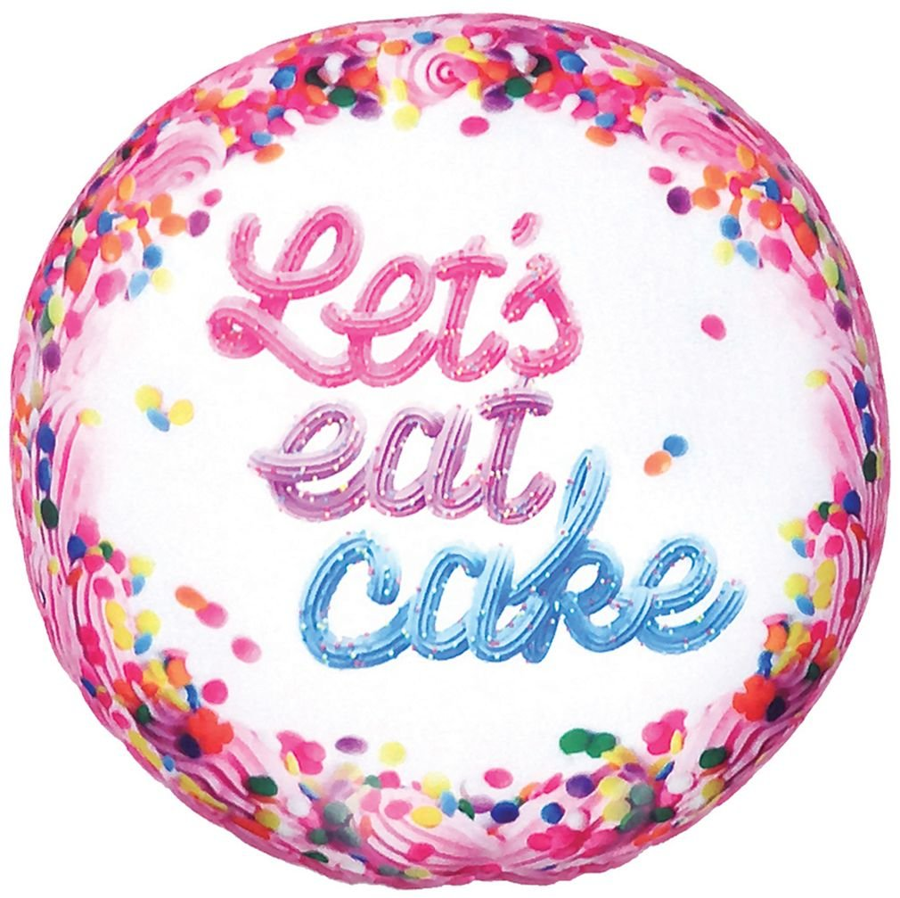 iscream Sugarlicious! Vanilla Scented Let's Eat Cake 16'' Photoreal Print Microbead Pillow by iscream