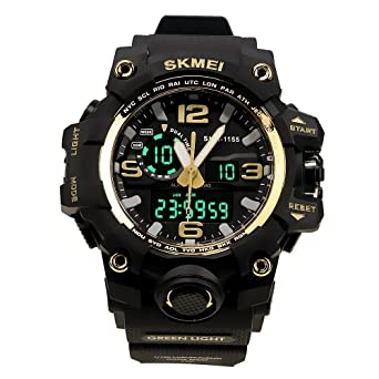 d2be9f7cf3b88 HUKOER Montre Bracelet Électronique Étanche Affichage de l''heure Double  Homme Sport PU Montre