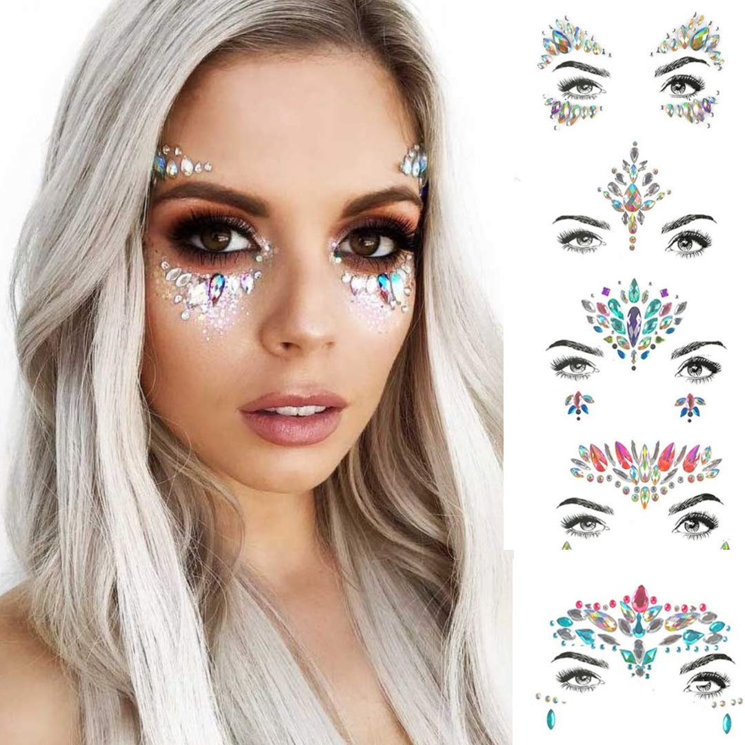 6 x Face Jewels Sets + BONUS 4 x 25gm Body Glitter | Rave Clothes | Glitter Make up| Hair Glitter | Festival Accessories | Face Jewels Stick on | Face Stickers | Face Glitter | Mermaid Accessories