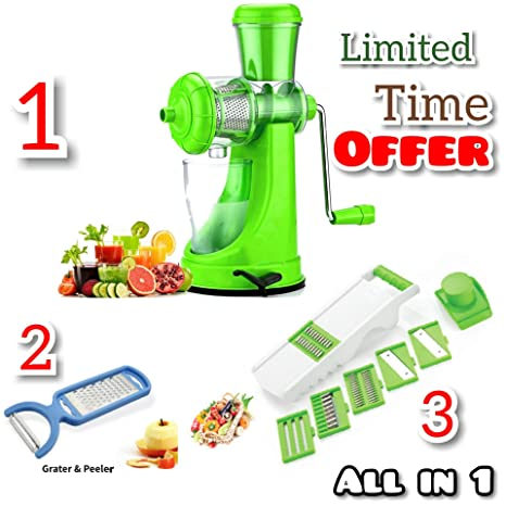 Redfam Super Deluxe Strong Vacuum Poly Carbonate Manual Juicer for Vegetables and Fruits and get Kitchen 6 in 1 Slicer and Peeler Grater Free Graters & Slicers at amazon