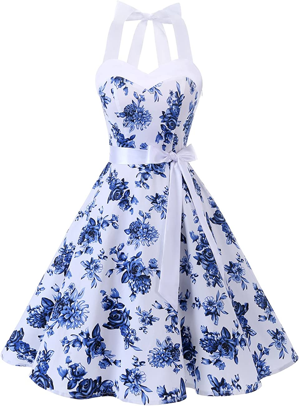 TALLA S. DRESSTELLS® Halter 50s Rockabilly Polka Dots Audrey Dress Retro Cocktail Dress White Blue Flower