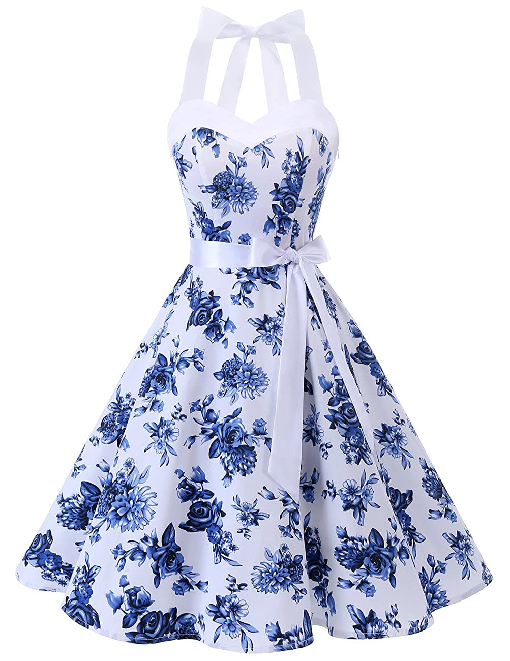 TALLA L. Dresstells® Halter 50s Rockabilly Polka Dots Audrey Dress Retro Cocktail Dress White Blue Flower L