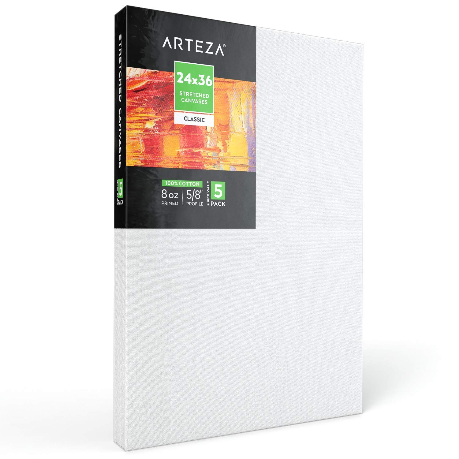 """Arteza 24x36"""" Stretched White Blank Canvas, Bulk Pack of 5, Primed, 100% Cotton for Painting, Acrylic Pouring, Oil Paint & Wet Art Media, Canvases for Professional Artist, Hobby Painters & Beginner by ARTEZA (Image #6)"""