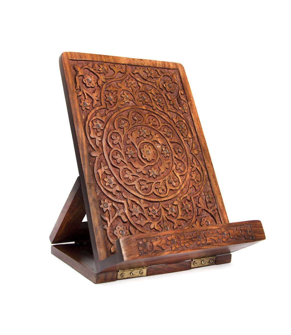Matr Boomie Hand-Carved Mandala Rosewood Cookbook Stand - Adjustable & Foldable Reading Holder/Kitchen/Office/Desk/Workshop