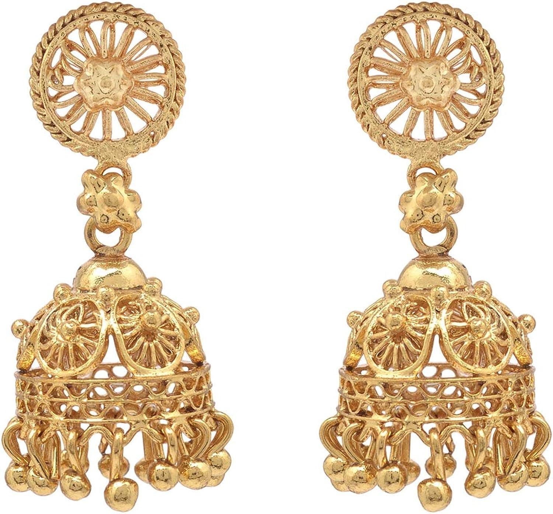 JAE-3404 Zephyrr Ethnic Jhumki Drop Earrings Gold Tone Casual Daily Wear Statement Jewelry For Women,