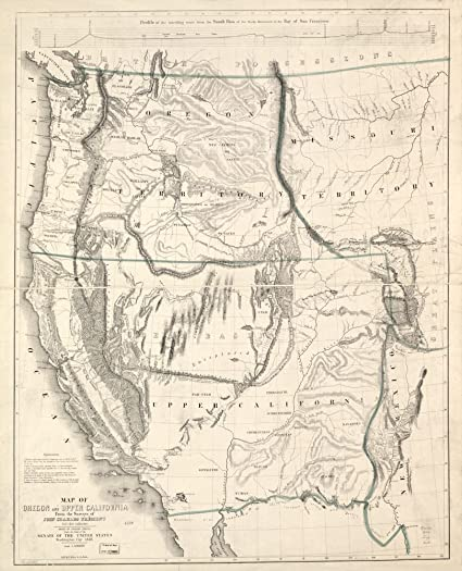 Vintage Oregon Map.Amazon Com Vintage 1848 Map Of Oregon And Upper California From The