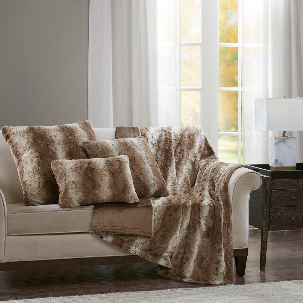 Madison Park Zuri Faux Fur Animal Throw Pillow, Luxury Square Decorative Pillow, 20X20, Tan