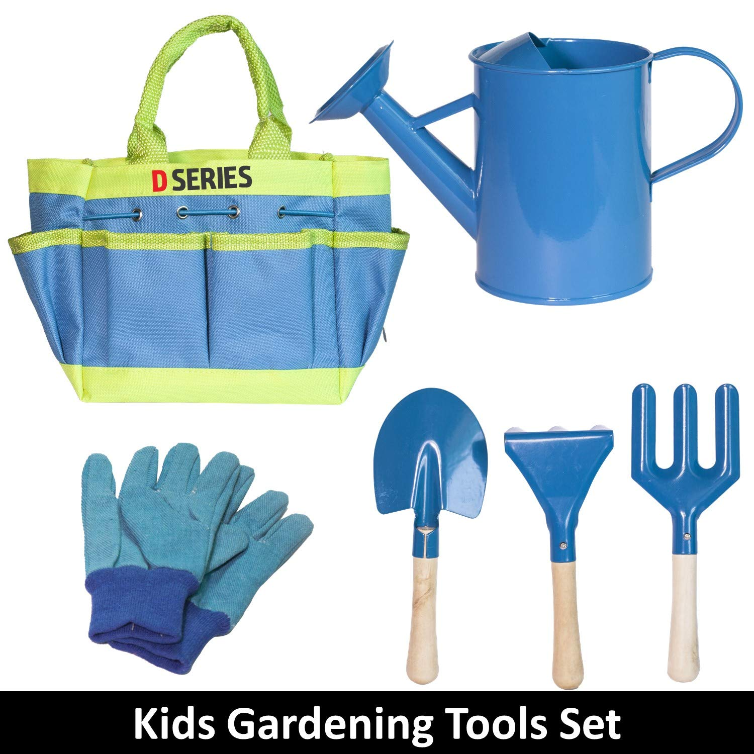 D SERIES Kids Gardening Tool Set Real Tools with Safety Edges, Gloves & Durable Tool Carrying Bag | Includes Blue Watering Can, Child Sized Trowel, Rake & Garden Fork | Learn While Playing