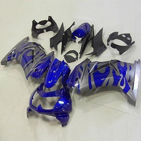 Moto Onfire ABS Injection Mold Plastics Fairing Kits for Kawasaki Ninja 250R EX250(2008 2009 2010 2011 2012, Blue/silver, Full Fairing Set Included)