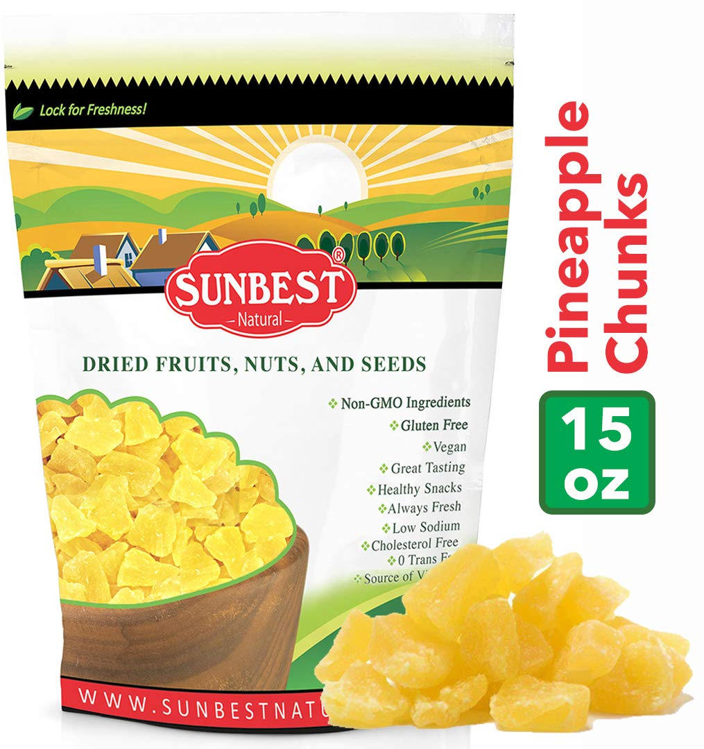 SUNBEST Dried Pineapple Chunks in Resealable Bag ... (1 Lb) by Sunbest