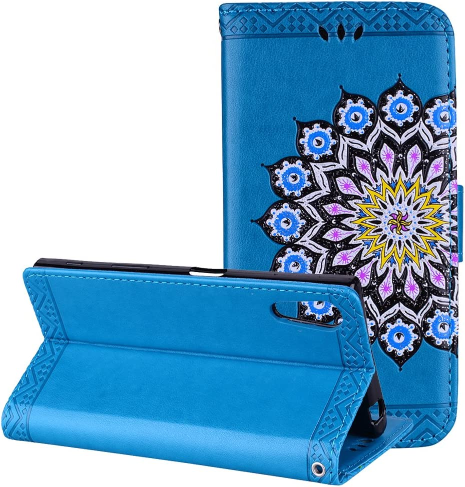 Rosa Schleife Xperia XZ Flip Case Sony Xperia XZs Leather Wallet Cover Case PU Leather Mandala Painted Embossed Floral Magnetic Flip Bumper Phone Case Protective Cases Covers for Sony Xperia XZ//XZs